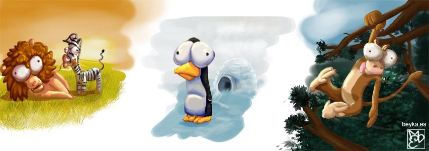 Beyka Ilustraciones 3D Animales tontos cartoon