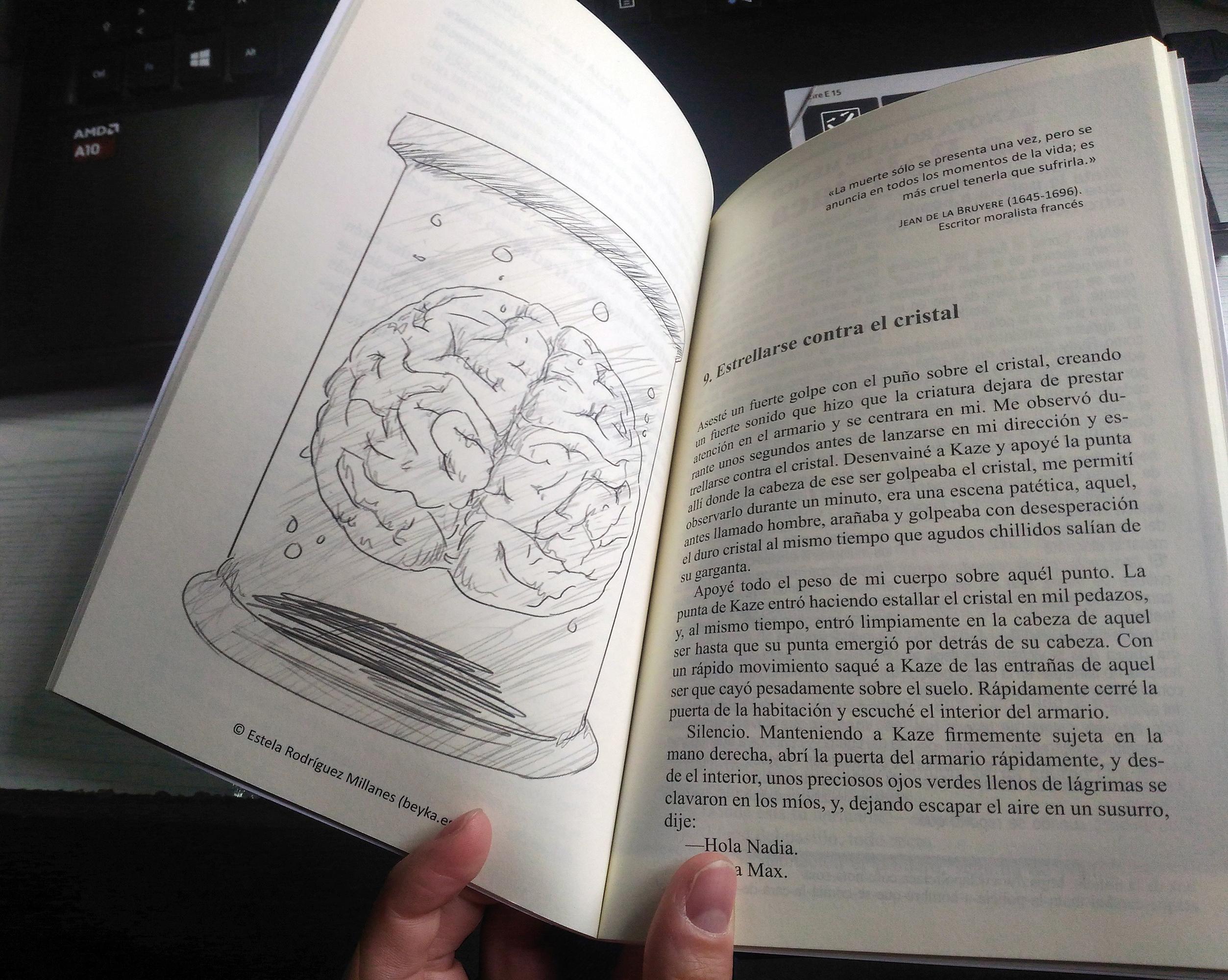 Foto del interior del libro donde vemos una de mis ilustraciones, un encéfalo en formol