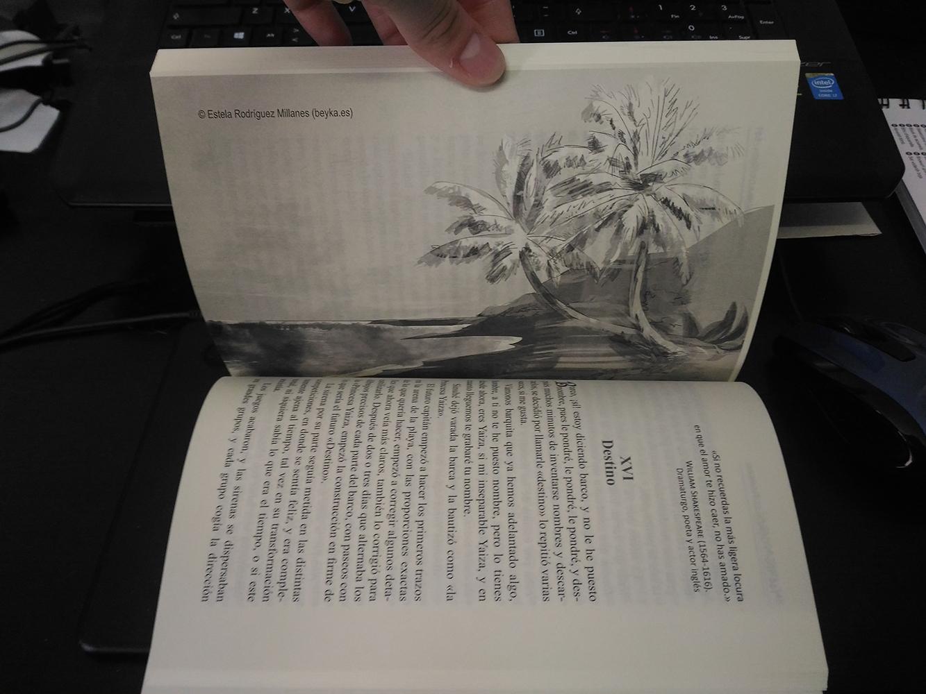 Ilustración de interior en blanco y negro de