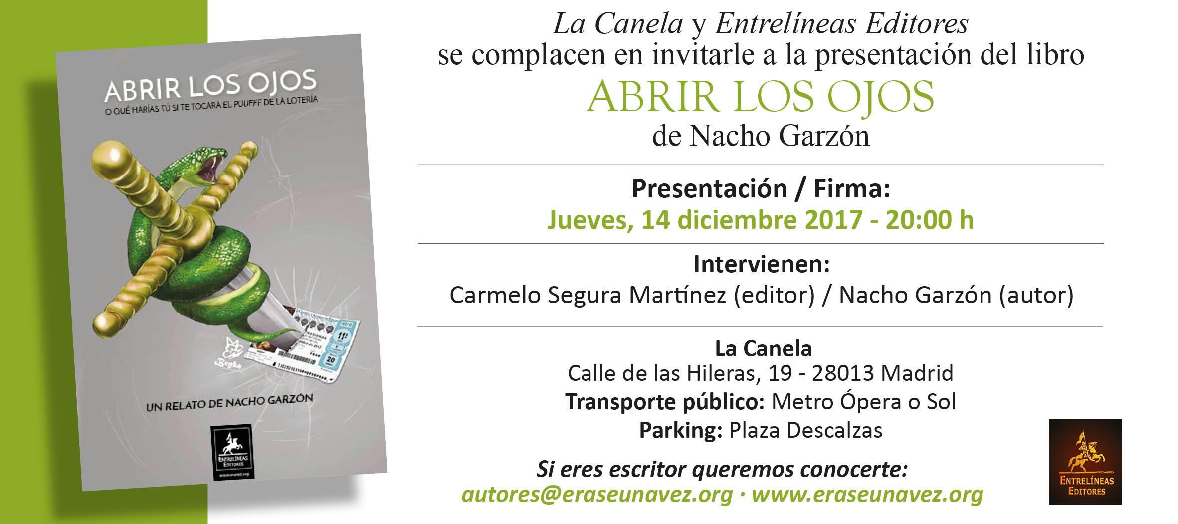 Fecha y portada de la presentación del libro