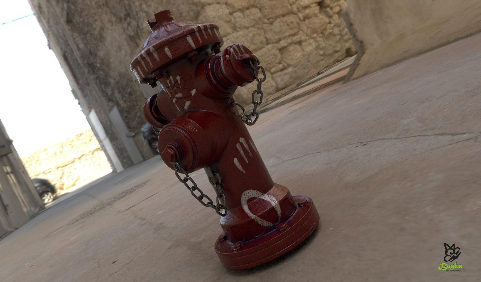 Render del modelo de boca de incendio con mi textura